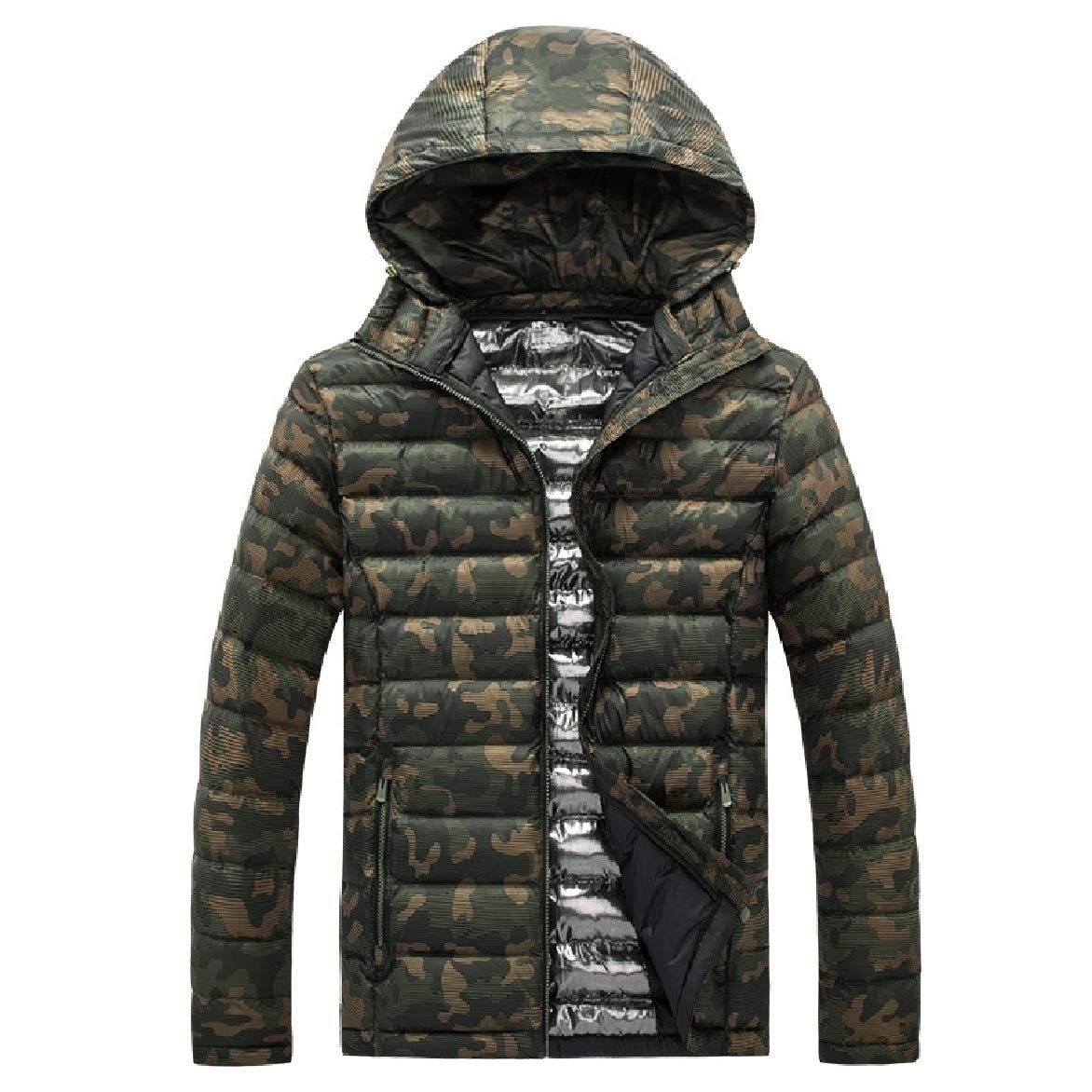 Abetteric Mens Comfort Hooded Thicken Camo Cotton Down Coat