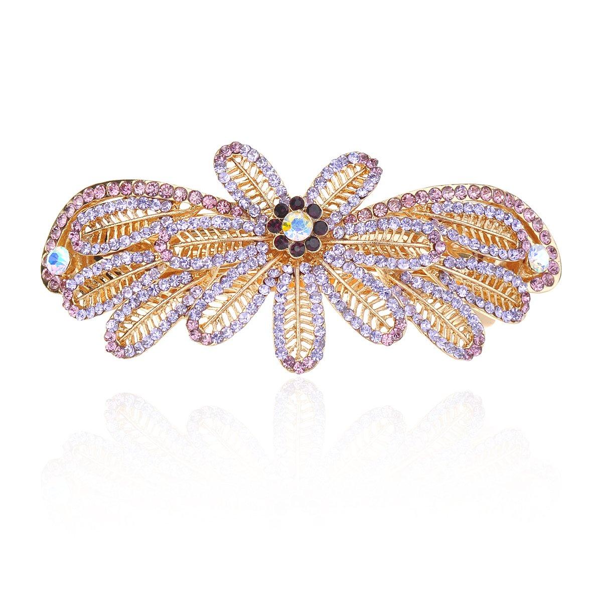 IPINK Women Gold Colorful Crystal Rhinestone Barrette Hair Clip Hairpin (Style 3-Purple)