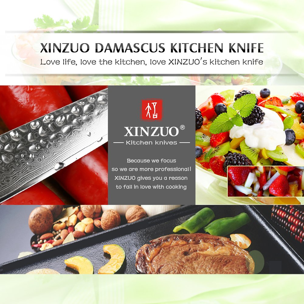 XINZUO Cutlery 6 inch Utility Knife Japanese VG-10 Damascus Steel Kitchen Knife Fruit Knife Peeling Razor Sharp Hammered Finish with Rosewood Handle - Yun Series by XINZUO (Image #6)