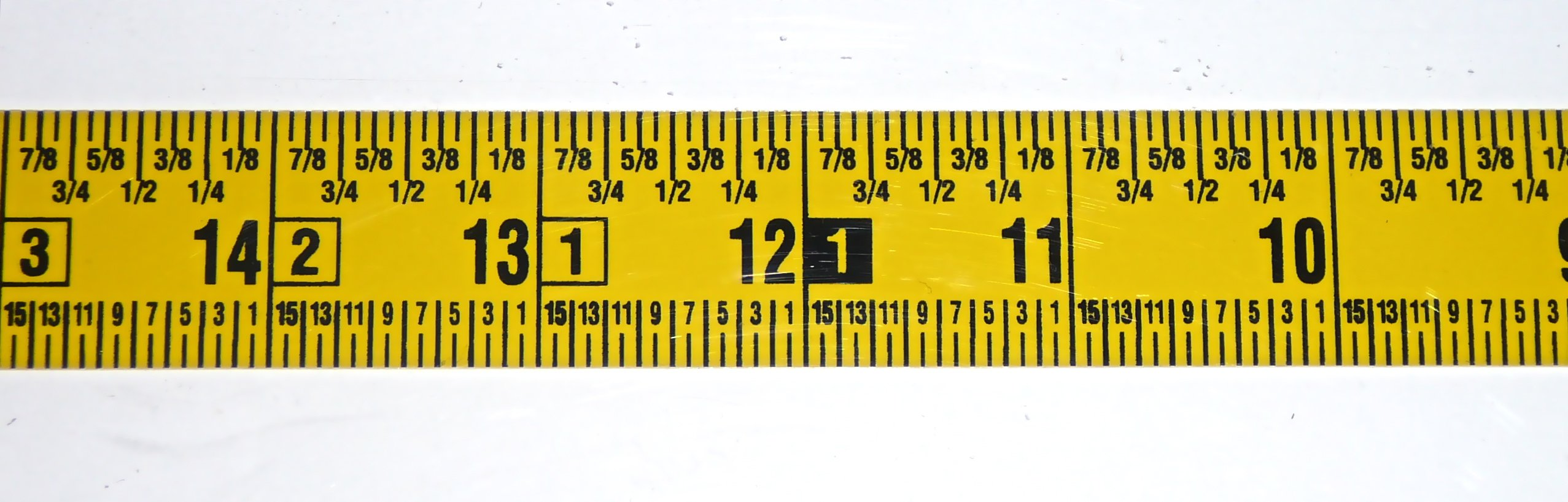 "Workbench Ruler – Adhesive Backed – 1 Inch Wide X 12 Foot Long – Right to Left – Fractional – 1/16"" Grads"
