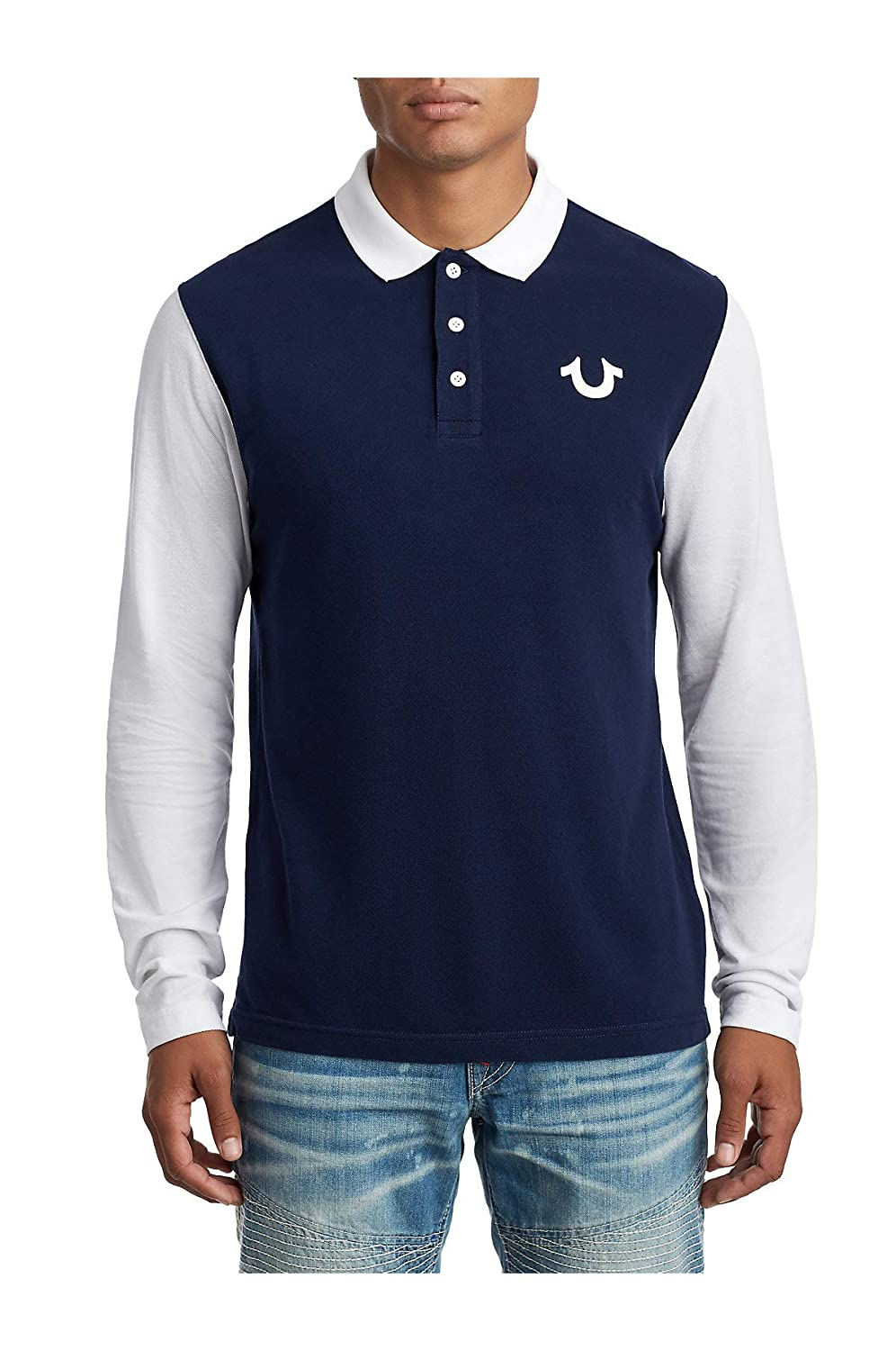 bdf19a50 Amazon.com: True Religion Men's Horseshoe Logo Long Sleeve Polo Shirt:  Clothing