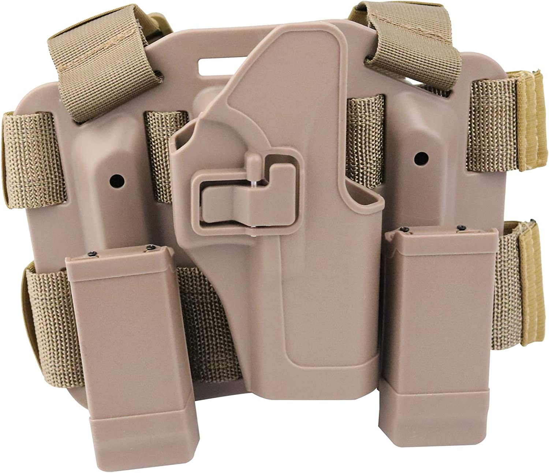 ZQO Pistolera táctica Ajustable Airsoft para Pistola, Funda para Pierna, Muslo, Funda para Pierna Derecha con Revista, Bolsa de antorcha para Glock 17