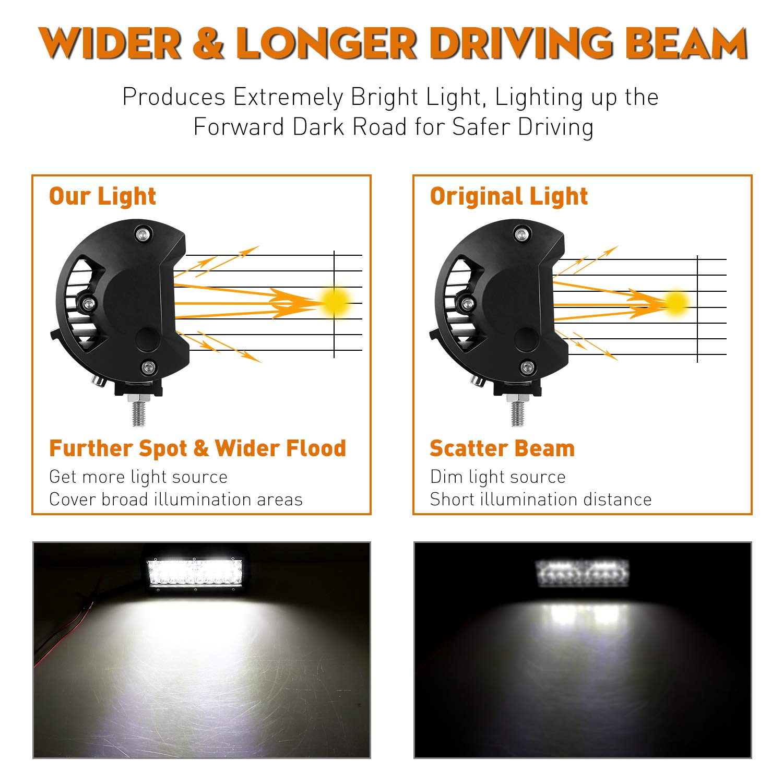 4 x 240W 7inch LED Light Bar YEEGO 24000lm LED Spot Flood Combo Beam Off Road Light Waterproof Work Lights for UTV ATV SUV Jeep Truck Tractor Pickup Boat 2 Years Warranty 4Pack-240W Combo Light