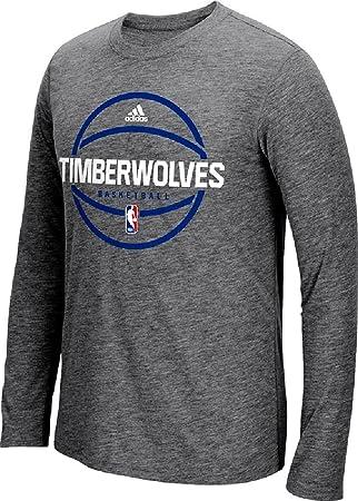 Minnesota Timberwolves Adidas pista gris oscuro pre-game sintético más delgado Fit manga larga T