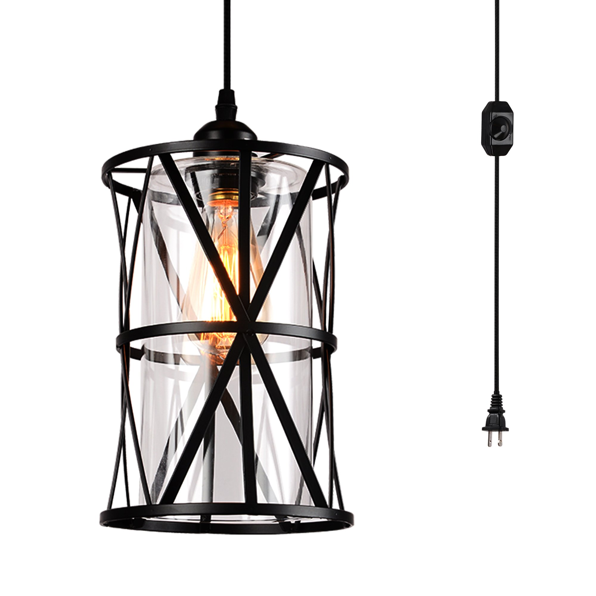 HMVPL Swag Lights with Plug in Cord and On/Off Dimmer Switch, New Transitional Hanging Pendant Lamps with Clear Glass Lampshade for Dining Room, Bed Room by HMVPL