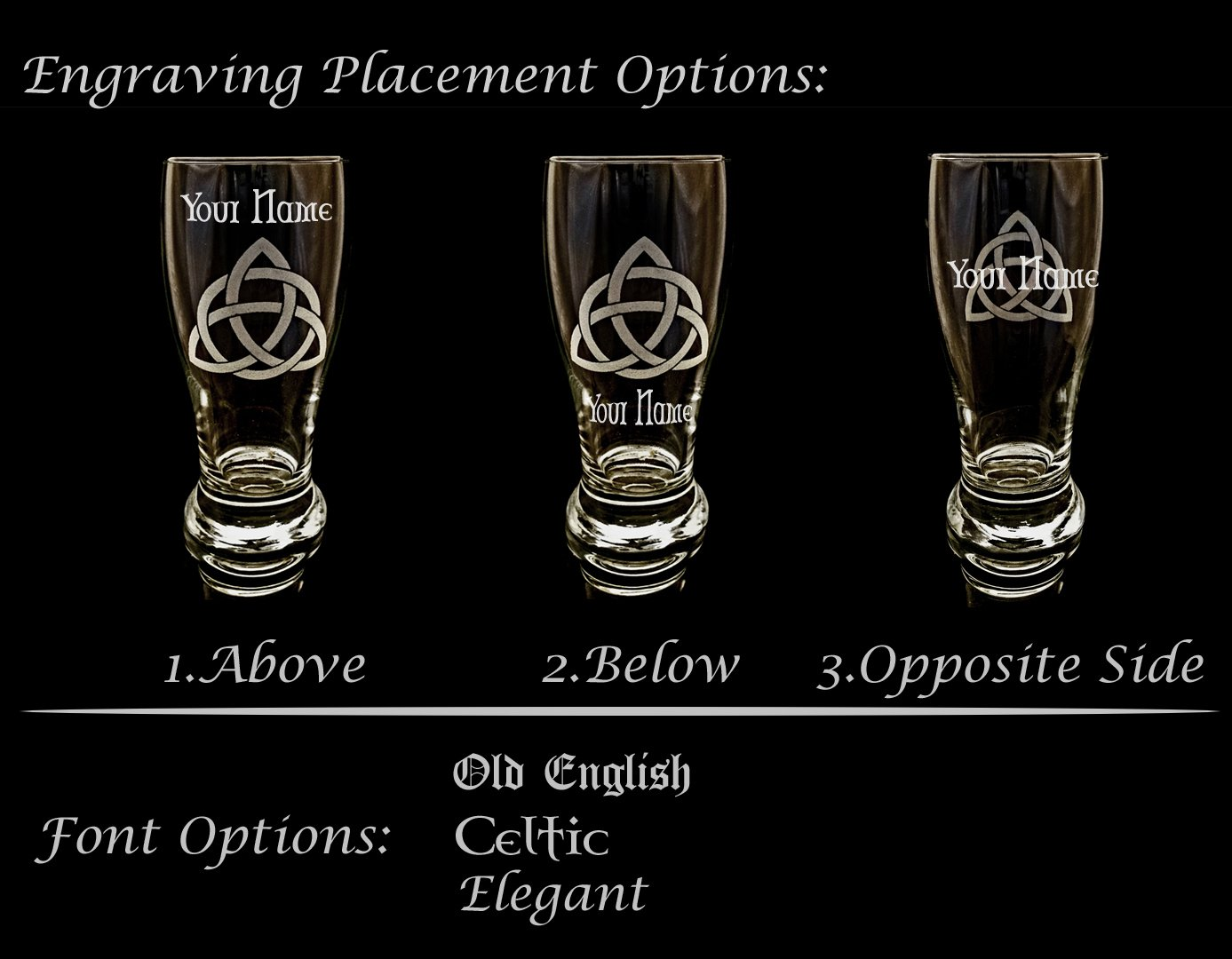 Clan Murray Scottish Crest Pint Glass Set of 4 - Free Personalized Engraving, Family Crest, Pub Glass, Beer Glass, Custom Beer Glass by LyonCraft (Image #3)