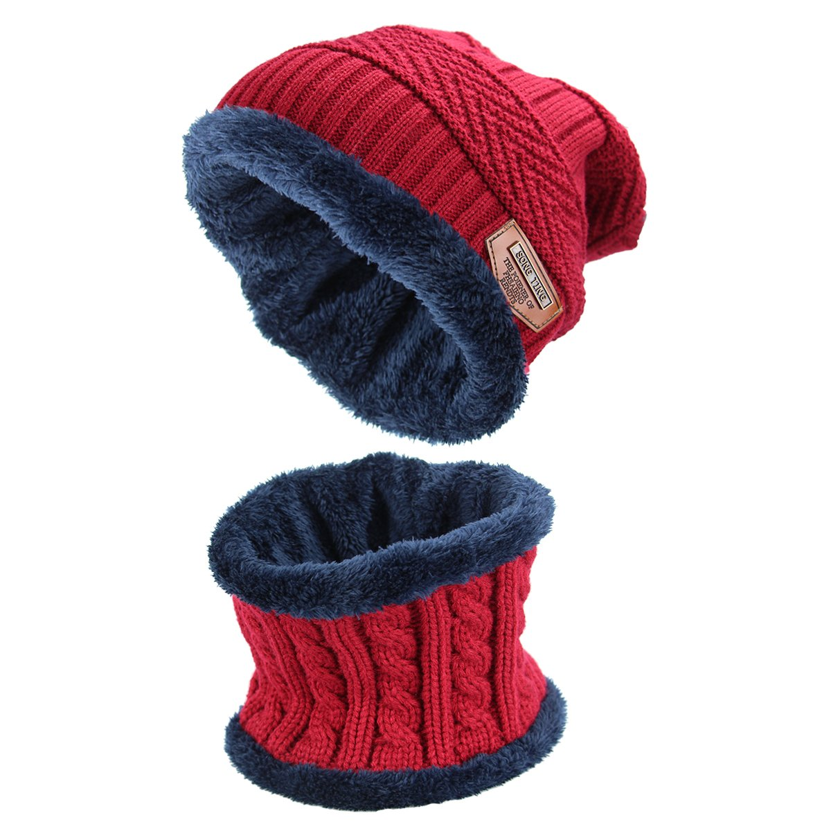 Hat Scarf Set Thick Knit Hat Warm Fleece Lined Scarf Warm Winter Hat for Men & Women Hat and Scarf Set Red (black) I165502Q1823141