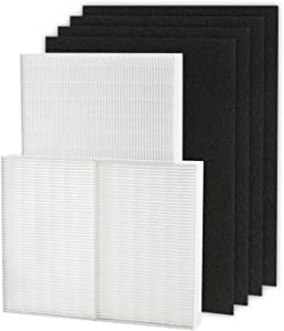 Cabiclean HEPA Filter R 3 Pack Set and 4 Precut Activated Charcoal Pre Filters for HPA300, Compatible for Honeywell Filter R and Prefilter A, HRF-R3, HRF-R2, HRF-R1, HRF-AP1