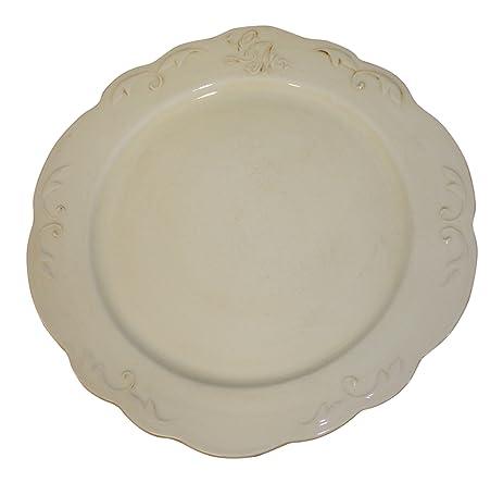 Earthenware Dinner Plates Set of 4 Ivory French Vintage Design  sc 1 st  Amazon.com & Amazon.com | Earthenware Dinner Plates Set of 4 Ivory French ...