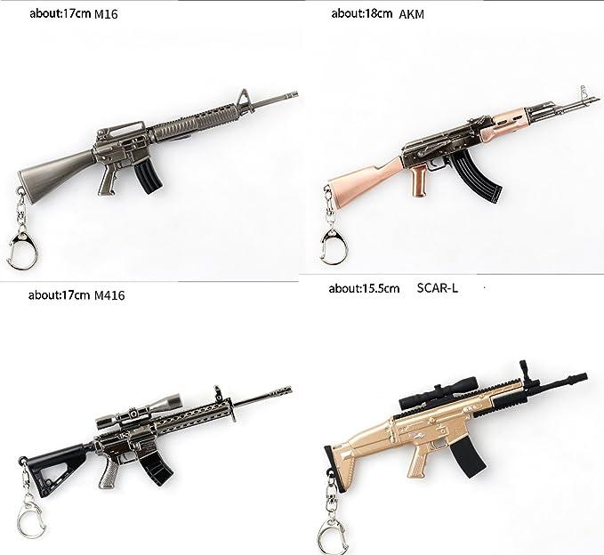 Amazon Com Keychains Key Chain Pubg Awm Akm M K Gun Weapon Model Pendant Cm G Clothing