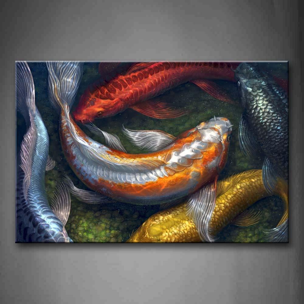 Colorful Koi nadando en agua pared arte pintura la imagen impresión sobre lienzo imágenes de animales para decoración del hogar decoración regalo