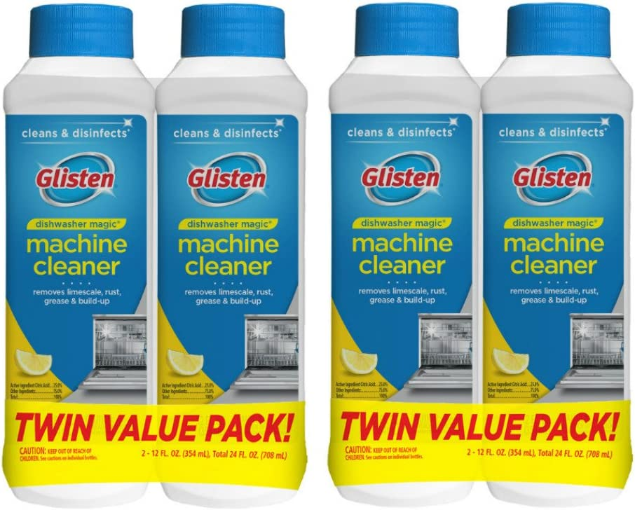 Glisten Dishwasher Magic Machine Cleaner and Disinfectant, 4 Bottles