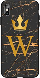 Okteq Case for iphone XS Max Shock Absorbing PC TPU Full Body Drop Protection Cover matte printed - Golden W letter black marble By Okteq