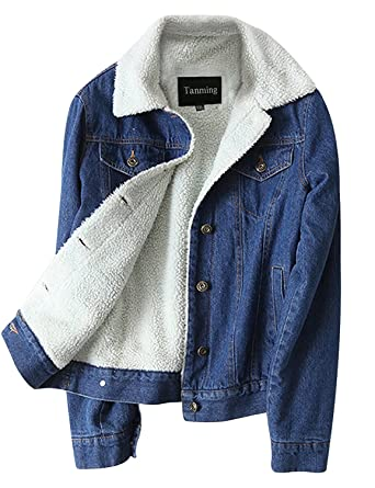 76e3a698e21 Tanming Women s Classic Style Sherpa Lined Denim Jean Jacket (Blue TM3