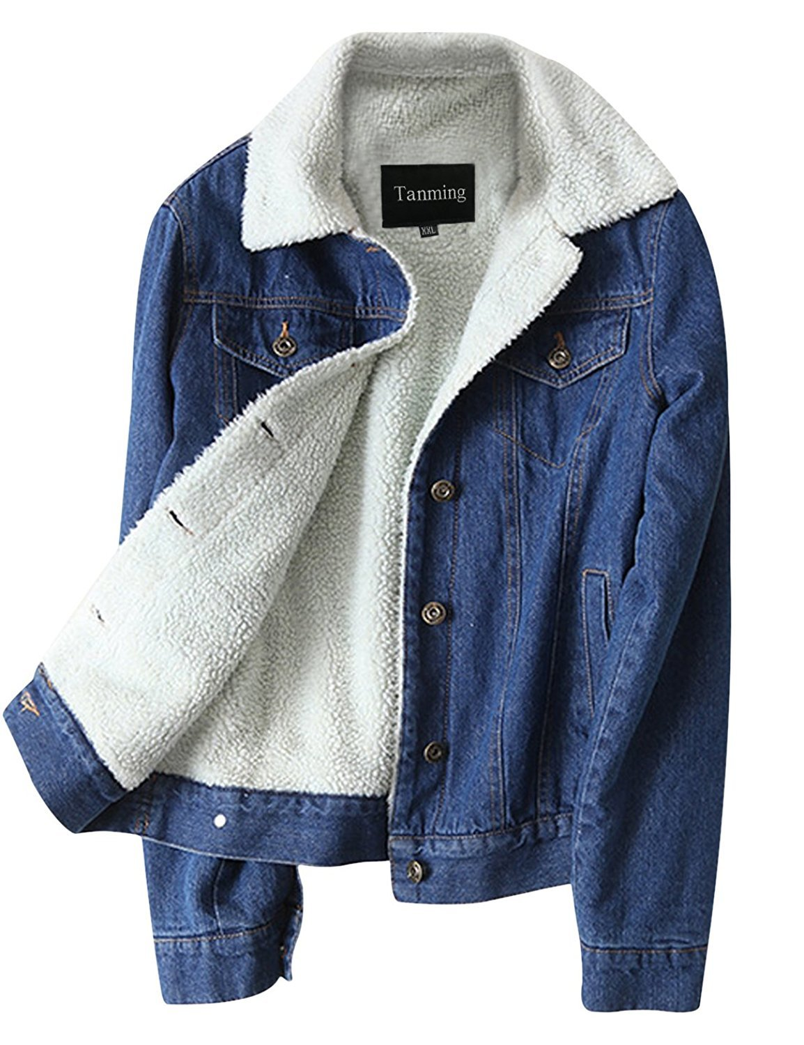 Tanming Women's Classic Style Sherpa Lined Denim Jean Jacket (Blue TM3, XX-Large)