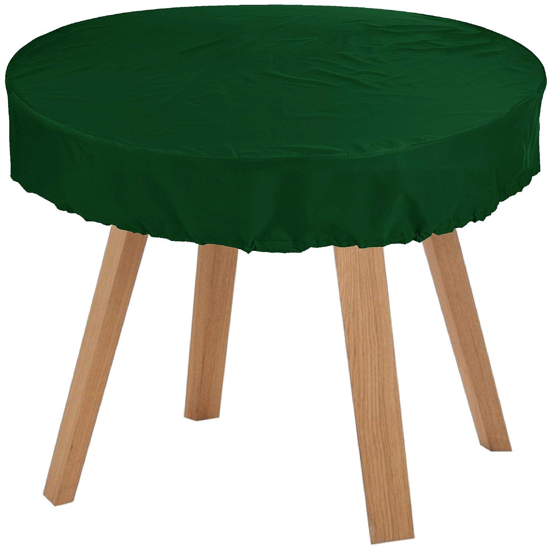 KaufPirat Premium Abdeckplane Rund Ø 130x15 cm Tannengrün Gartenmöbel Gartentisch Abdeckung Schutzhülle Abdeckhaube Outdoor Round Patio Table Cover