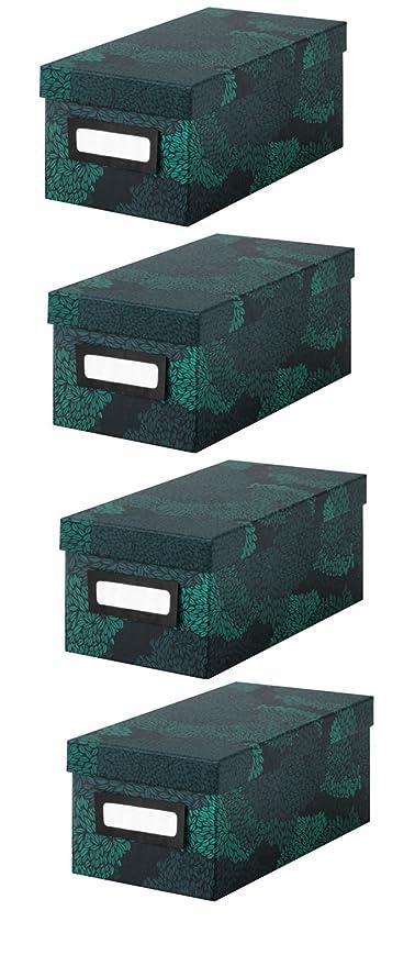 IKEA Tjena caja con tapa caja de [4 unidades] – para oficina, almacenamiento