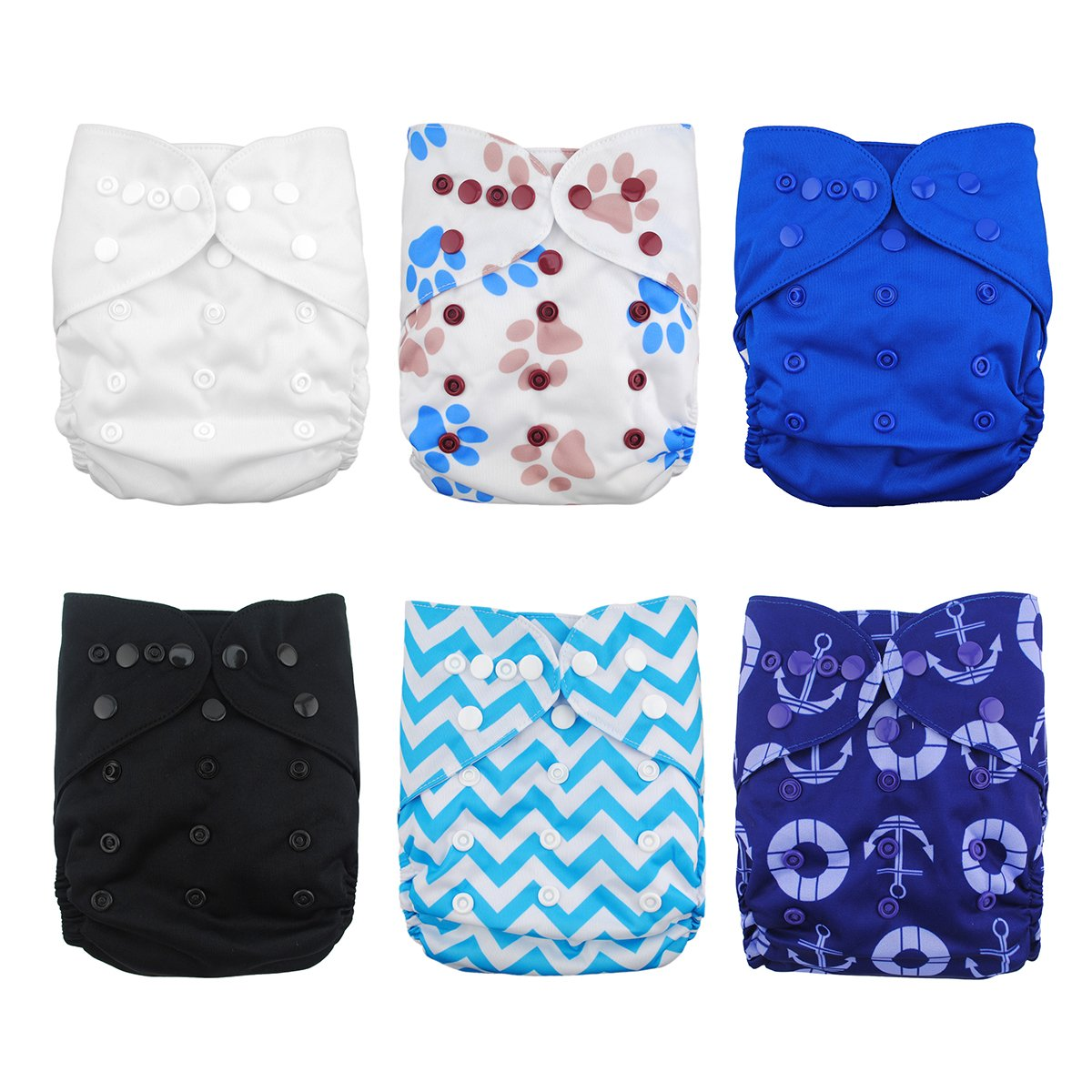 Babygoal 6pcs Baby Cloth Diaper Covers-Adjustable Reusable Washable Cloth Diaper Covers for Fitted Diapers and Prefolds Baby Gift Sets for Boy 6DCF02-CA Huapin