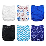 Babygoal Baby Cloth Diaper Covers for Boys, Adjustable Reusable Washable 6pcs Diaper Covers for Fitted Diapers and Prefolds, Baby Shower Gift Sets 6DCF02