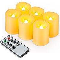 Kohree 6 x Velas LED Sin Fuego de temporizador Control remoto brillo ajustable Realista y brillante Parpadeo con pilas…