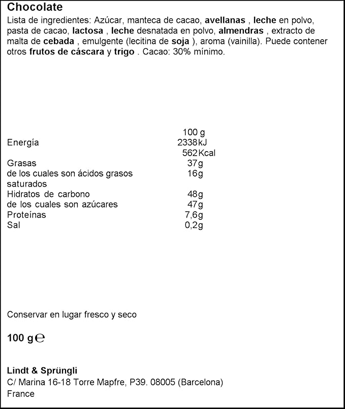 Lindt - Avellanas - Chocolate con leche - 100 g: Amazon.es: Alimentación y bebidas