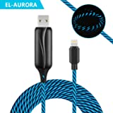 EL-AURORA Lightning to USB Cable 360 Degree Light Up Visible Flowing Glowing LED iPhone Charger Cable to USB Syncing and Data Cord for iPhone 7/7 Plus/6/6 Plus/6s/6s Plus/5/5s and more-3ft (black)