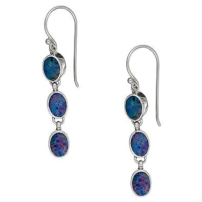 Silverly Women's .925 Sterling Silver Blue Topaz Gemstone Celtic Swirl Satin Drop Dangle Earrings ROAvOtj