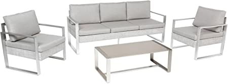 PEGANE Salon de Jardin en Aluminium et Polyester Coloris ...