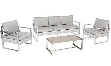 PEGANE Salon de Jardin en Aluminium et Polyester Coloris Taupe ...