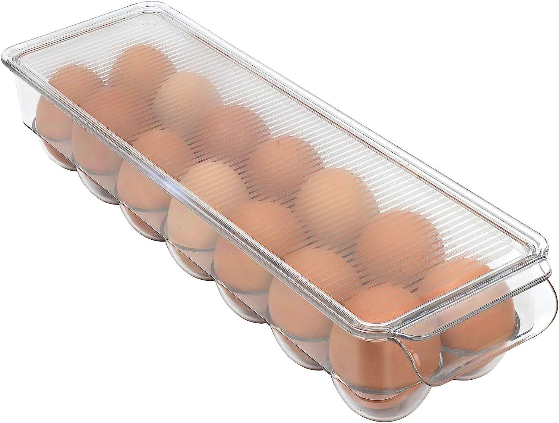 Walmeck Fridge Egg Holder Transparent Slide Egg Drawer Container Storage Organizer Refrigerator Pull Out Bin for Storing Eggs