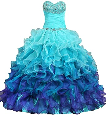 ANTS Womens Gorgeous Strapless Rainbow Quinceanera Dresses Ruffle Prom Gowns Size 2 US Turquoise