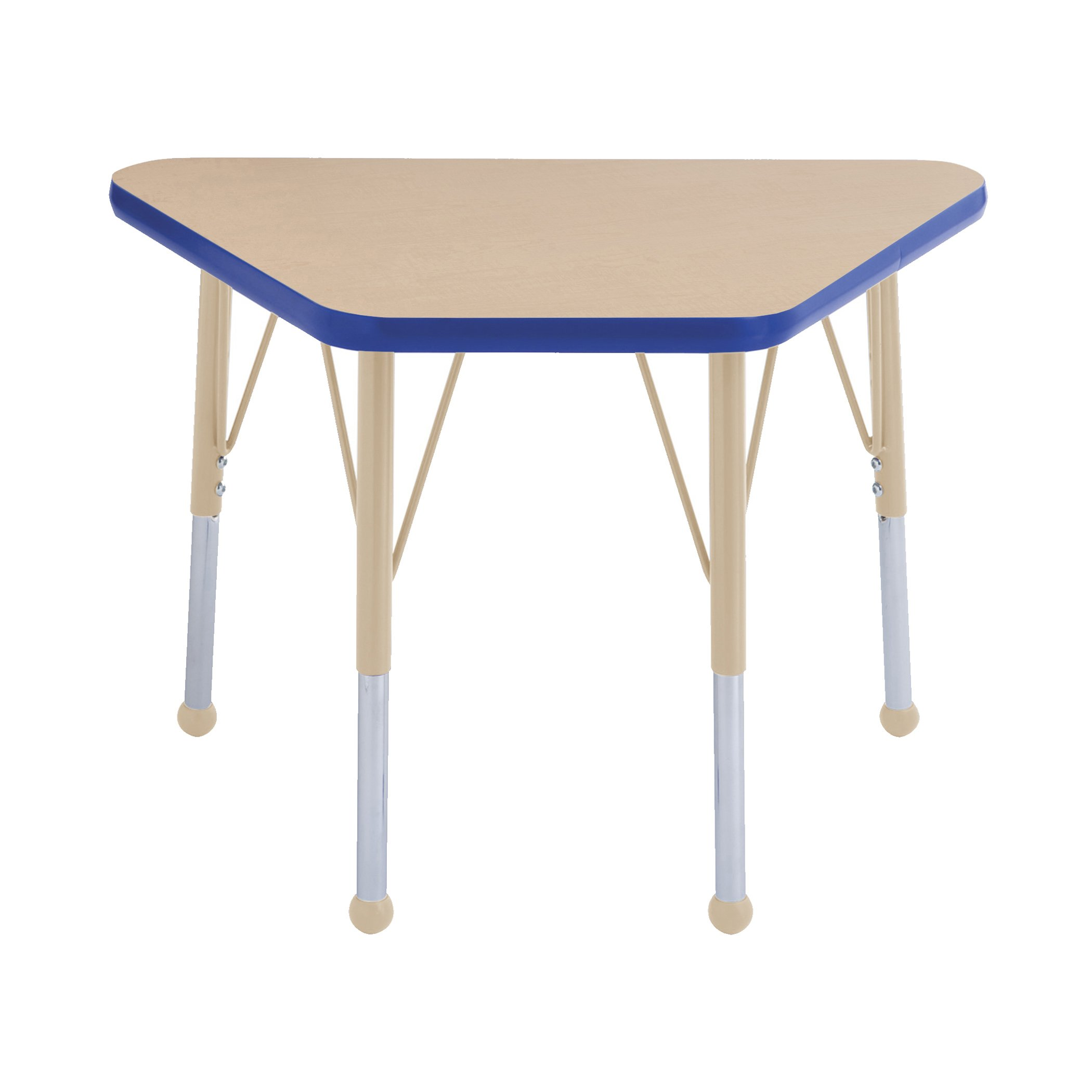 ECR4Kids Everyday T-Mold 18'' x 30'' Trapezoid Activity School Table, Standard Legs w/Ball Glides, Adjustable Height 19-30 inch (Maple/Blue/Sand) by ECR4Kids