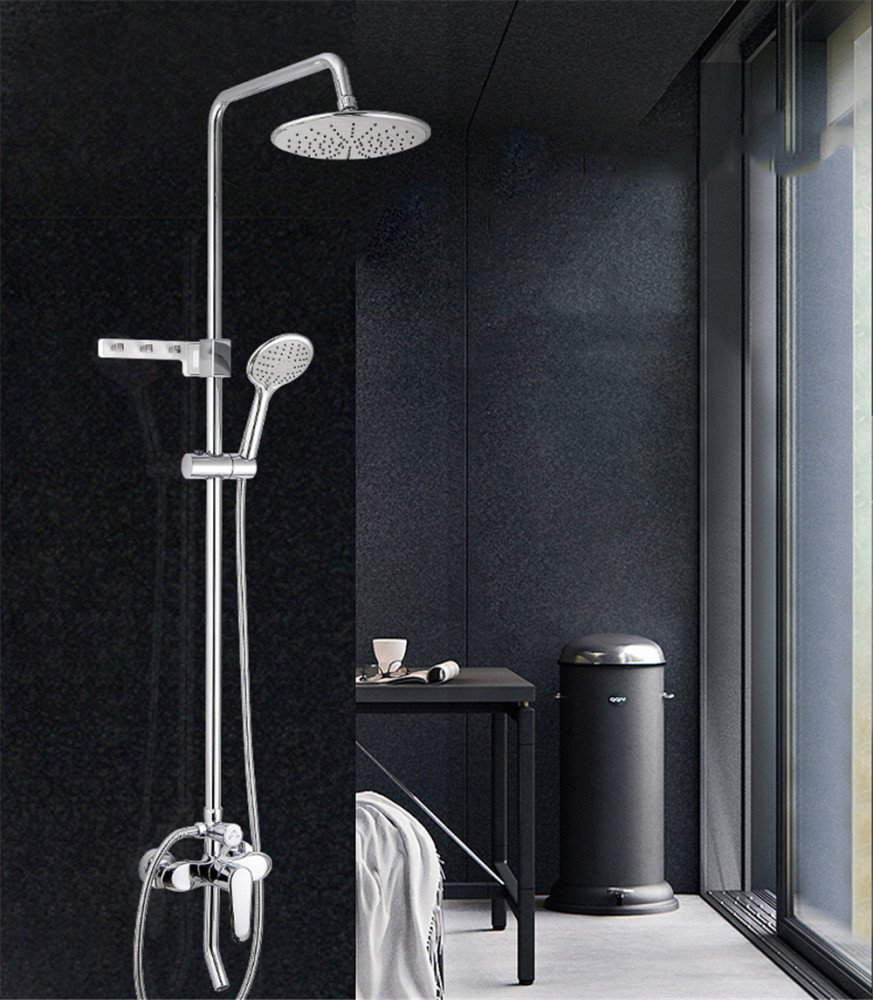 MAFYU Shower Systems Hot and Cold Faucet Lift Three-Stall Shower Set