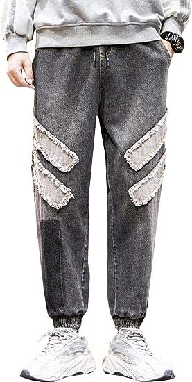 BeiBang(バイバン)ジーンズ メンズ ゆったり ジョガーパンツ 大きいサイズ テーパード ジーパン ファッション 切り替え デニムパンツ カジュアル オシャレ Gパン ウエスト ゴム ワイド ズボン