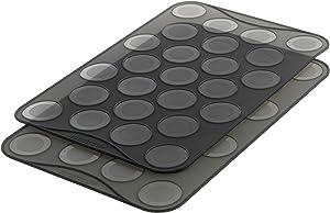 Mastrad Small Macaron Baking Sheet, 25 Ridge Mold Tray Mat, Flexible, Reusable, Non-Stick, Silicone, Heat-Resistant, Multi-Colour - F45514