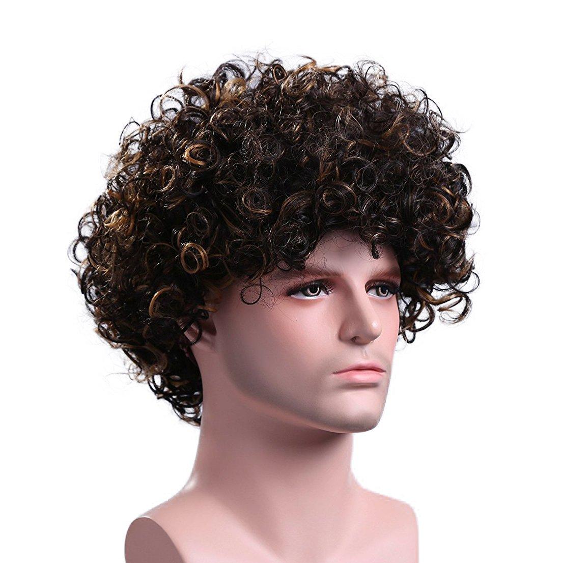 Details about Men Short Brown Blonde Curly