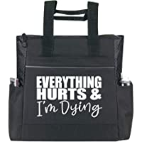 Gym Tote Bag for Women - Workout Tote - Funny Gym Fitness Sayings - Fitness Tote Bag for Women (Gym Tote Bag, Everything Hurts Black Premium)