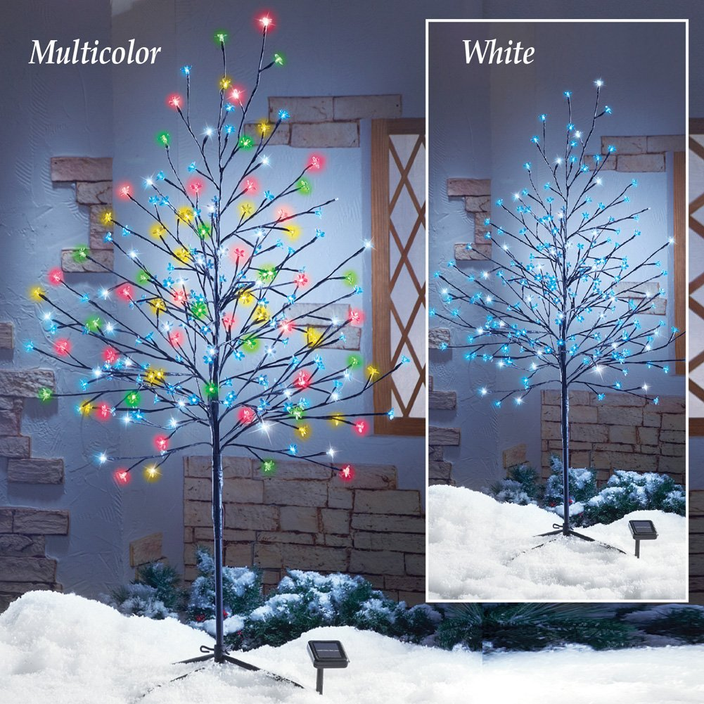 Solar Lighted Outdoor Winter Cherry Christmas Tree Holiday Yard Decoration (Cool White)