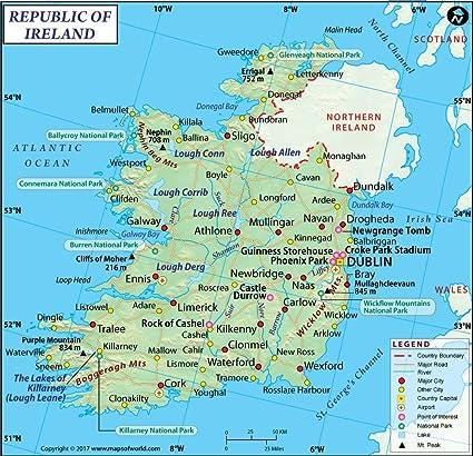 Irland Karte 91 4 Cm W X 88 3 Cm H Amazon De Burobedarf