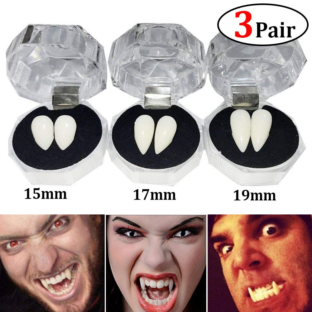 TissueDeep 3 Pairs Vampire Fangs Teeth - Dentures Fake Braces Cosplay Props Halloween Costume Accessory Props Party Favors (3pcs Halloween Teeth)