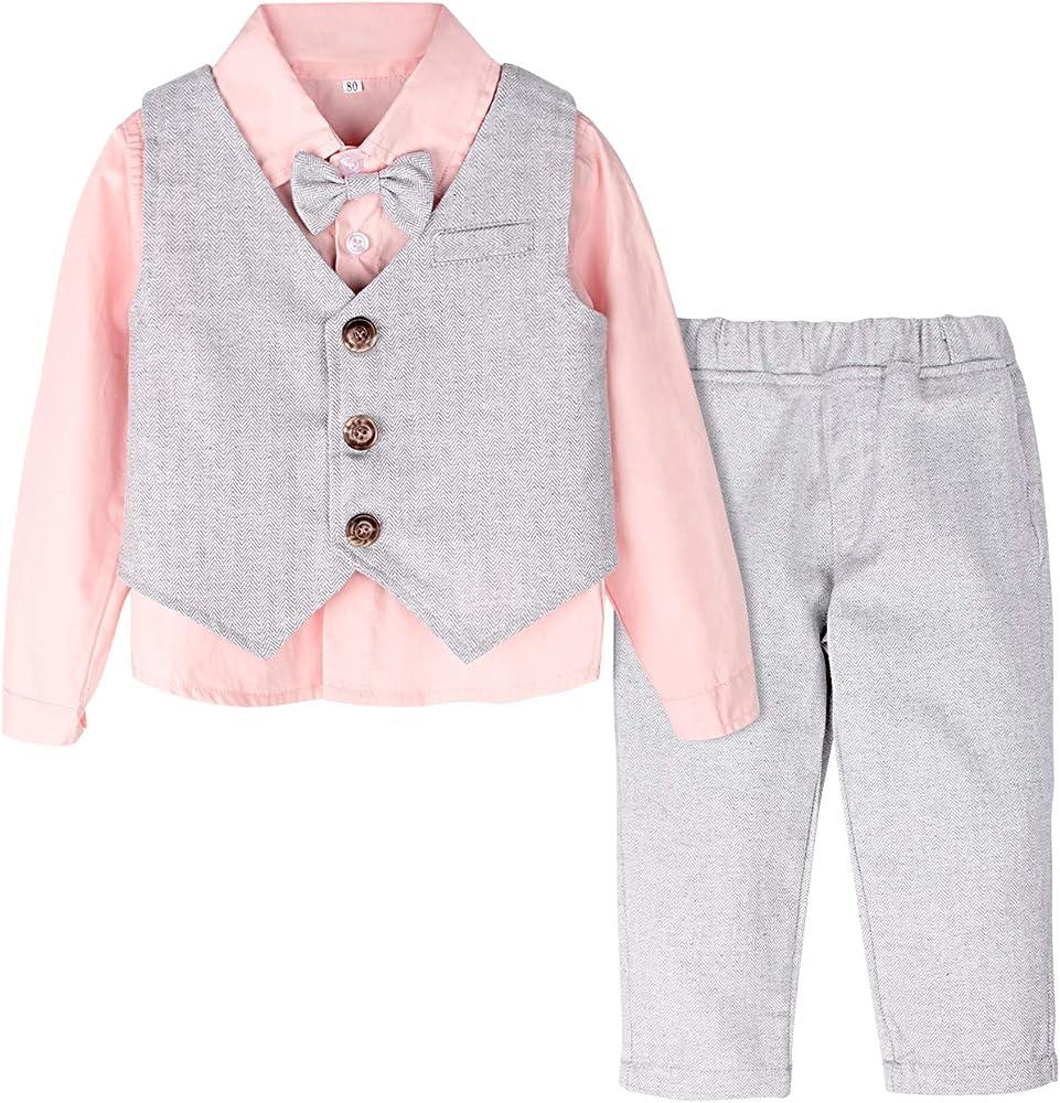 mintgreen Traje Niño Conjunto Gentleman Bebé Camisa Rosa Chaleco Boda, Rosado, 12-18 Meses (Tamaño del Fabricante: 80): Amazon.es: Ropa y accesorios