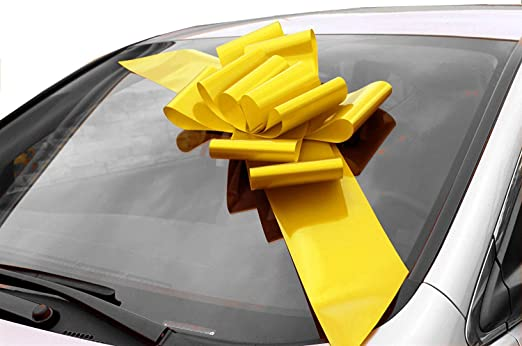 GiftWrap Etc. Lazo Amarillo Grande para el Auto - Completamente ensamblado, 63 cm de Ancho (25 Pulgadas), Pascua, Mardi Gras, Decoración Grande, Decoración de Regalo de cumpleaños: Amazon.es: Hogar