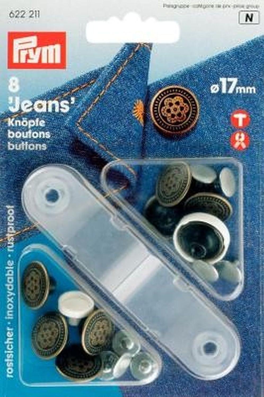 8 St/ück altkupfer Prym Boutons pour Jean 14 mm
