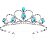 Lovelyshop Blue Gems Rhinestone Tiara No Comb for Little Kid Big Kid Prom Birthday Prinecess Crown