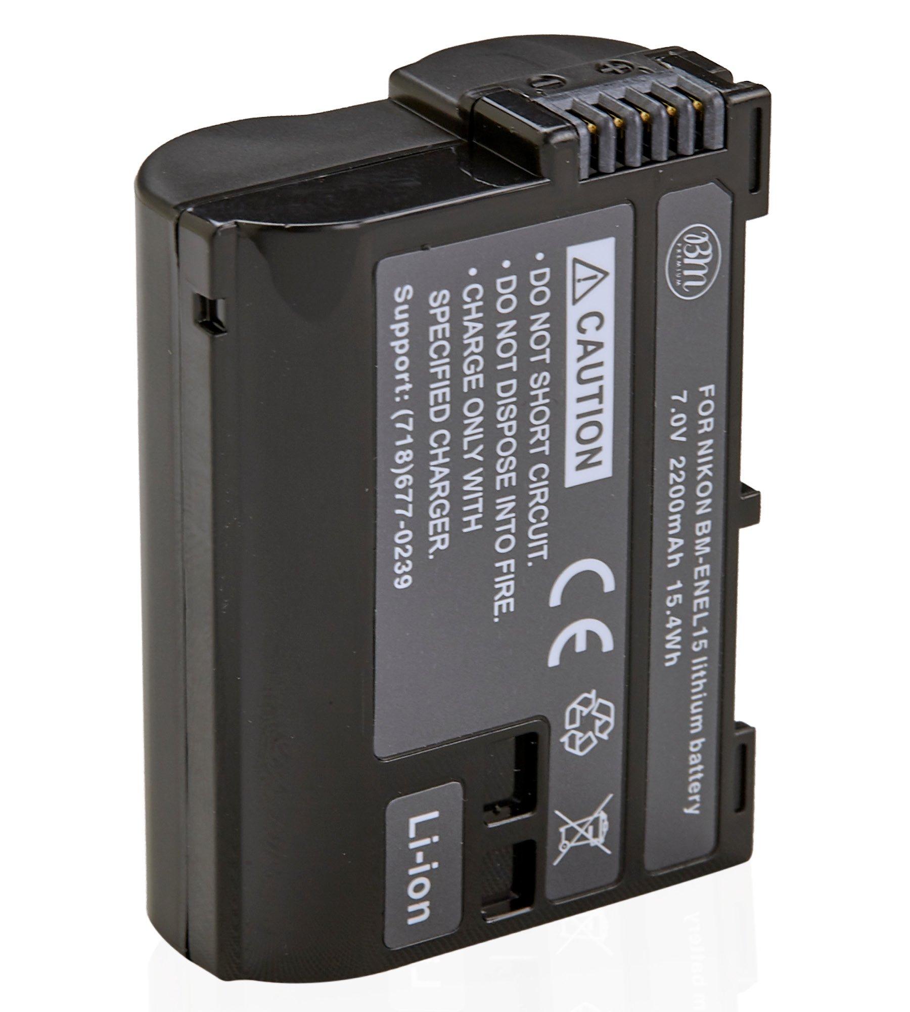 BM Premium EN-EL15 Battery for Nikon D850, D7500, 1 V1, D500, D600, D610, D750, D800, D800E, D810, D810A, D7000, D7100, D7200 Digital SLR Camera by BM Premium (Image #1)