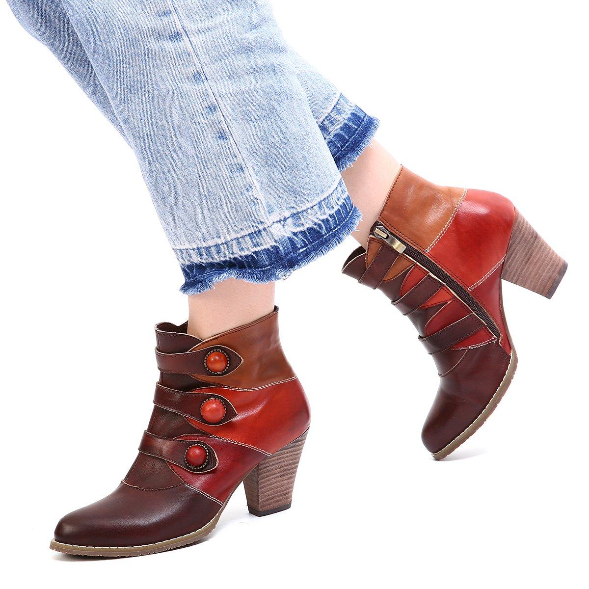 gracosy Bottes Cuir Femme, Bottines Hiver Boots à Talons Moyens Hauts Chaussures Ville Automne avec Semelle Confortables Design Original Bohème 2018 pour Grande Poiture - Noir Marron Rouge GRACOSYUKBEATT12895