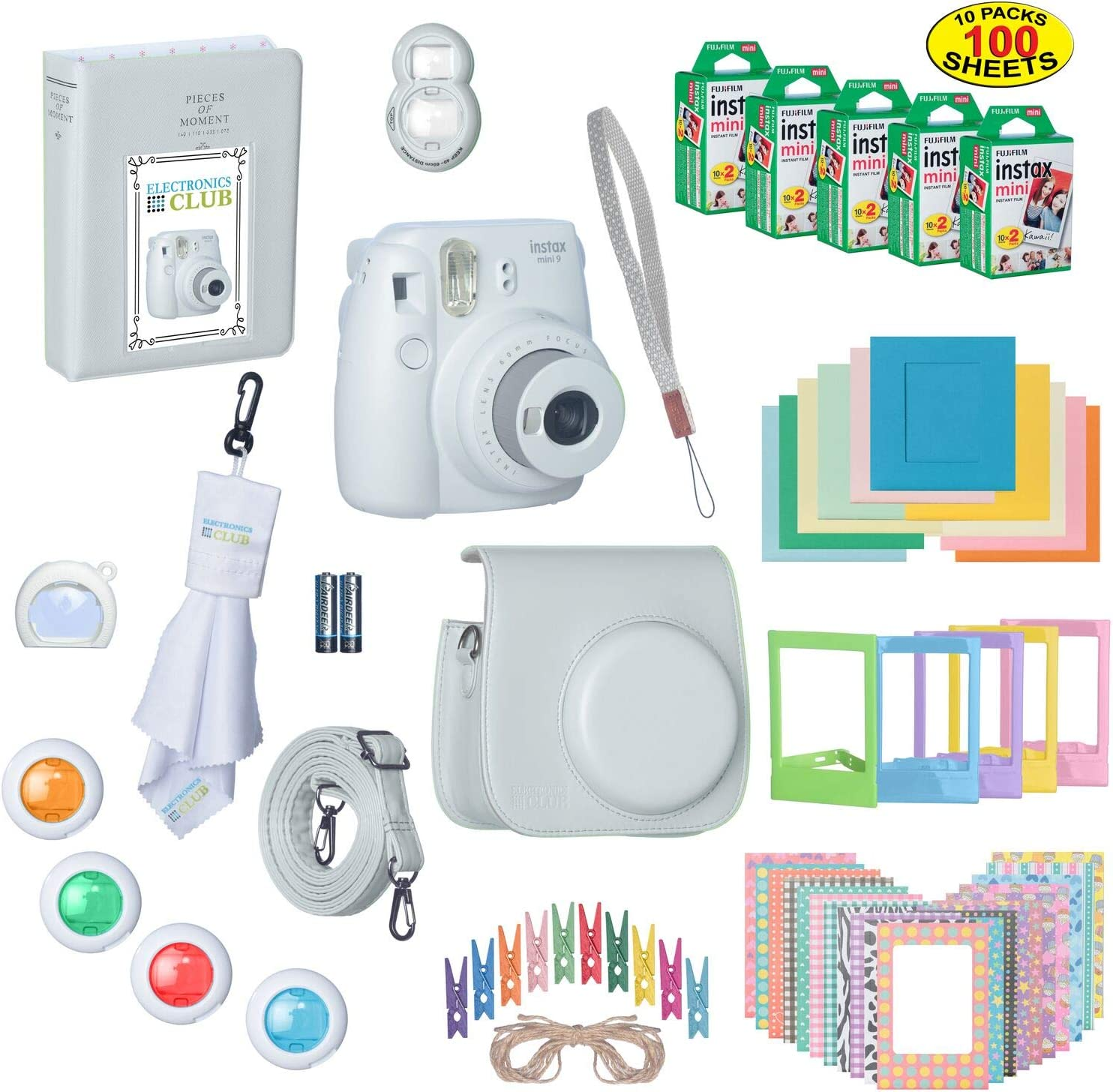 Fujifilm Instax Mini 9 Instant Film Camera Bundle with Over 15 Accessories | 100 Sheets of Instant Film + Mini Nine Leather Case + Photo Album + Lens Filters + Mini Frames + More