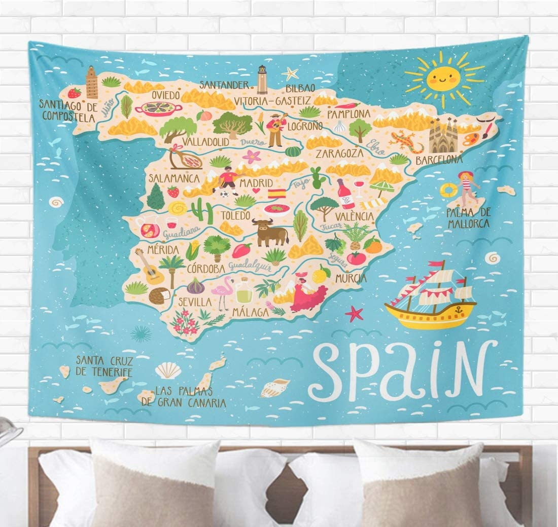 """Topyee Home Decorative Tapestry Wall Hanging Red Map of Spain Travel Spanish Landmarks People Food 60"""" L x 80"""" W Tapestries Wall Blanket for Dorm Living Room Bedroom"""