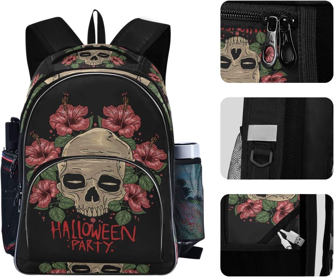 AUUXVA Backpack Halloween Holiday Skull Durable Laptop Travel Shoulder Bag Hiking for Women Girls Men Boys