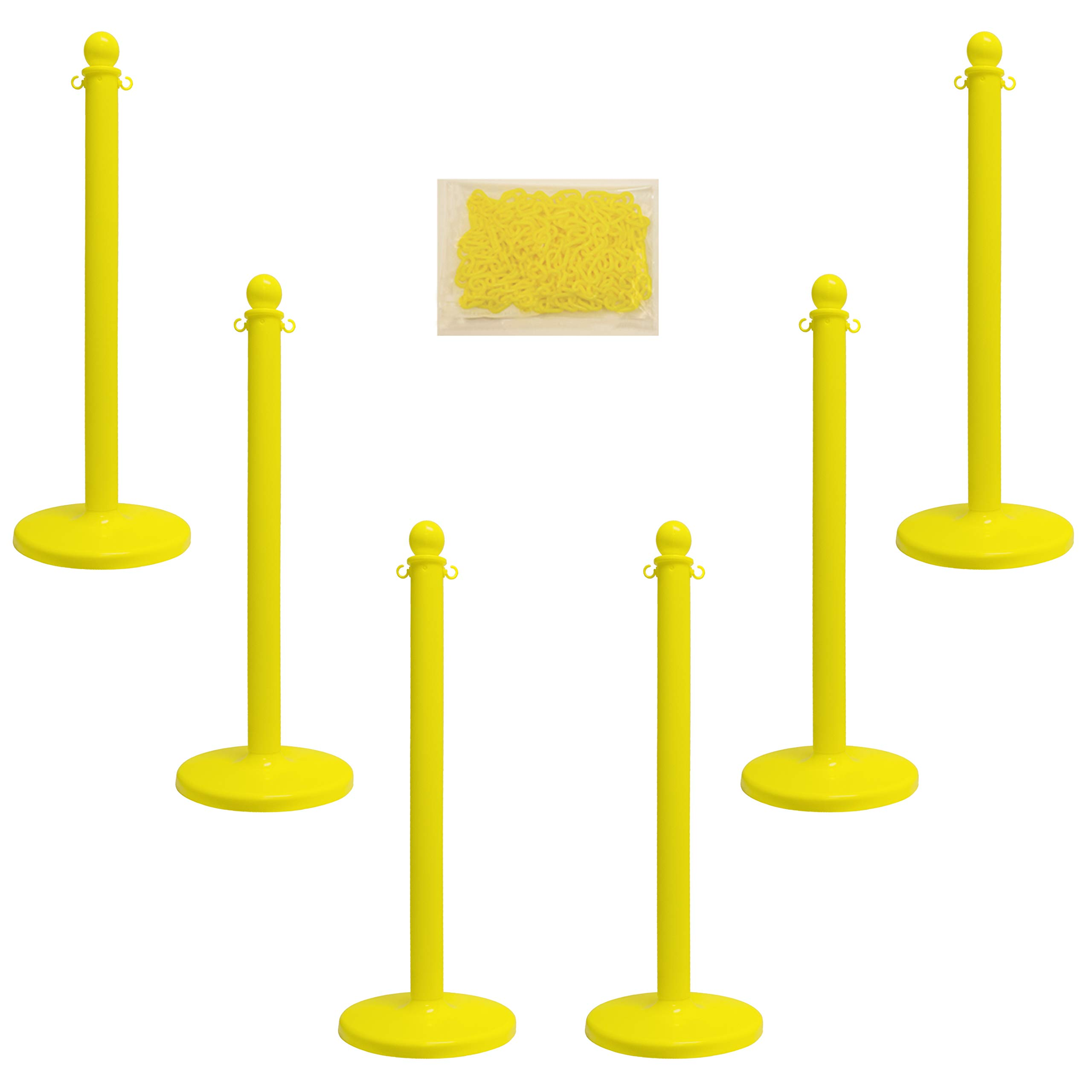 Mr. Chain 71002-6 Yellow Plastic Stanchion Kit with 50' of 2'' link Chain and C-Hooks, Pack of 6